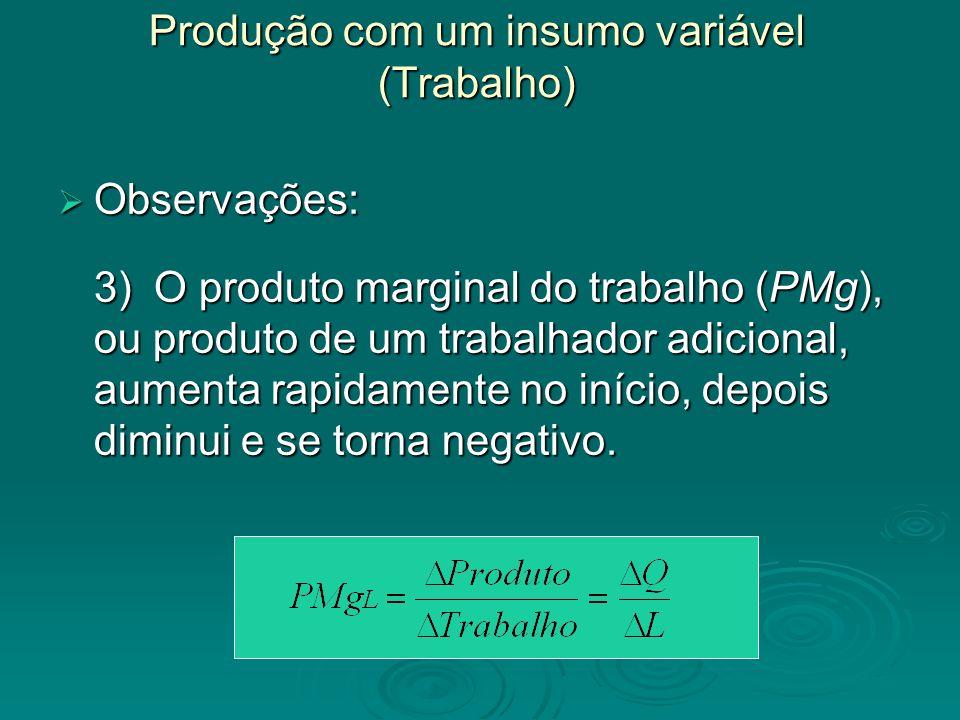 Produção com um insumo variável (Trabalho)