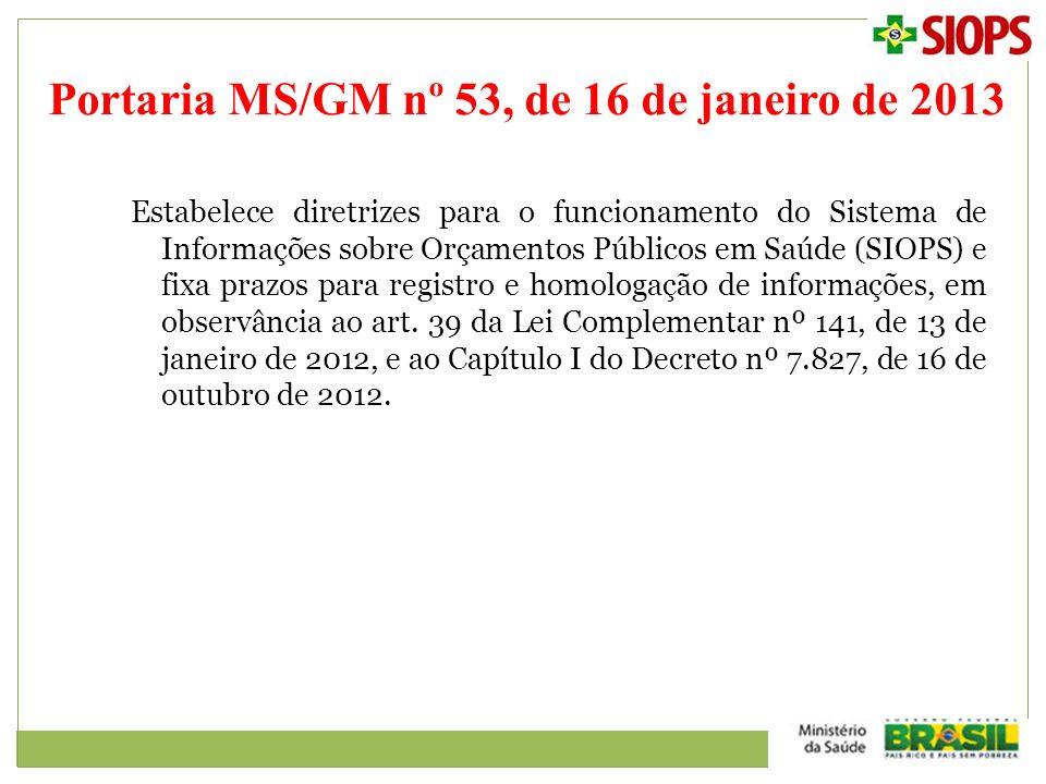 Portaria MS/GM nº 53, de 16 de janeiro de 2013