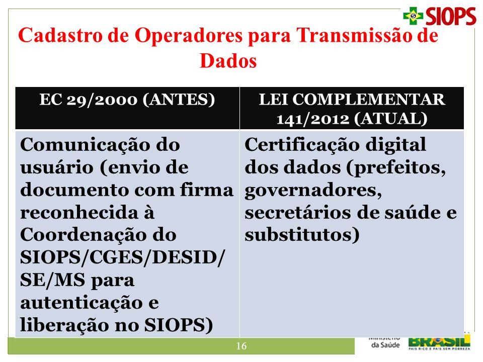 Cadastro de Operadores para Transmissão de Dados