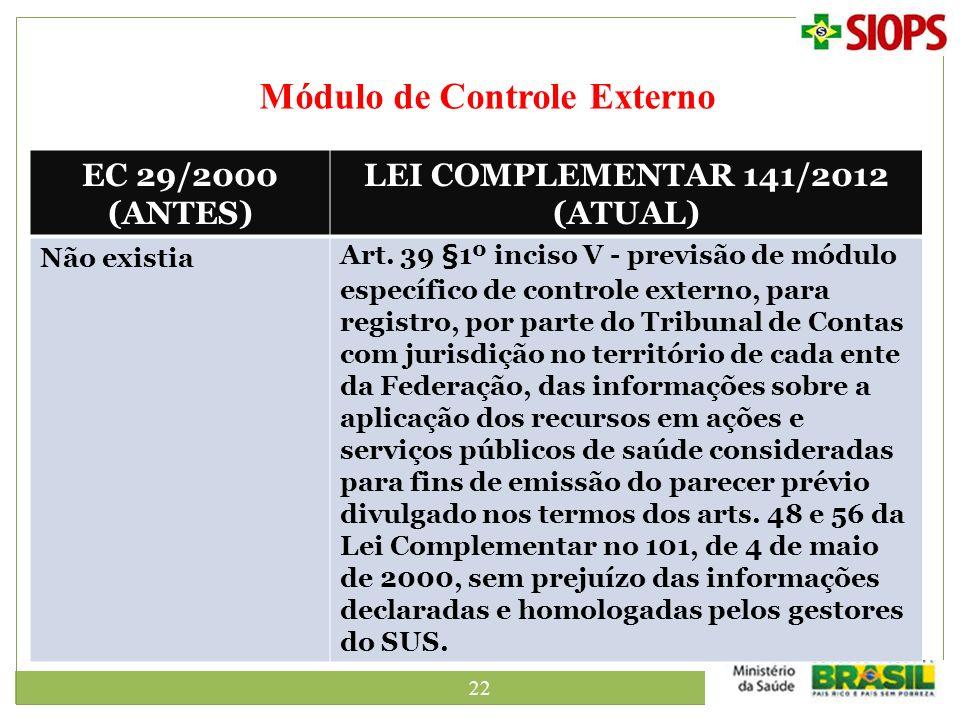 Módulo de Controle Externo LEI COMPLEMENTAR 141/2012 (ATUAL)