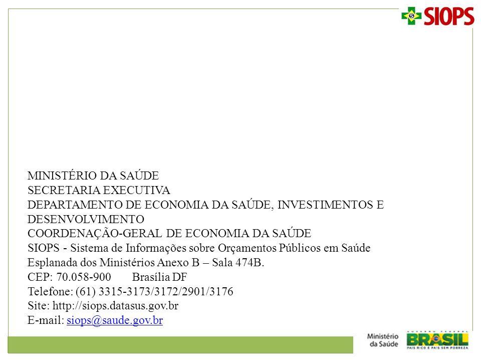 MINISTÉRIO DA SAÚDE SECRETARIA EXECUTIVA. DEPARTAMENTO DE ECONOMIA DA SAÚDE, INVESTIMENTOS E DESENVOLVIMENTO.