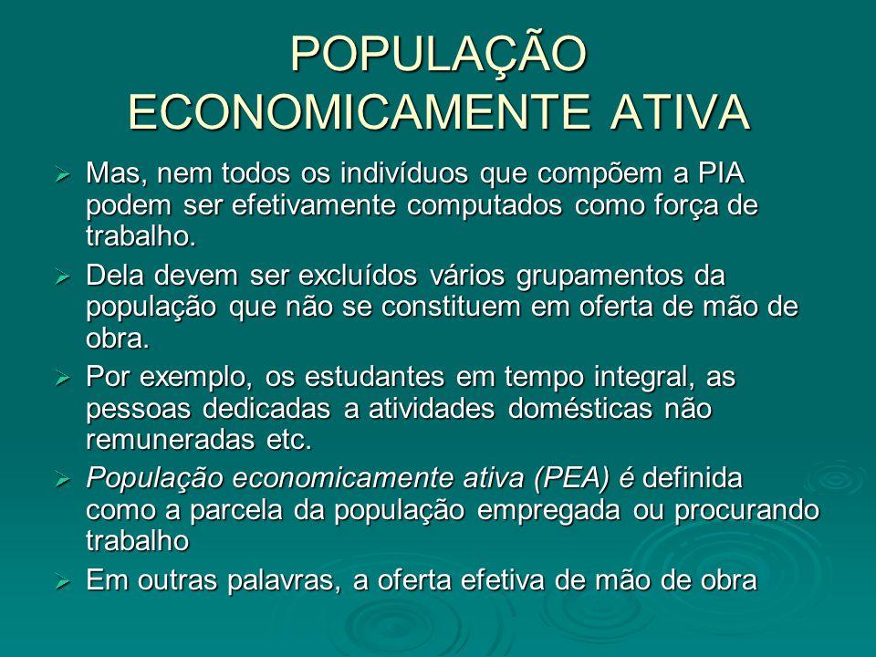 POPULAÇÃO ECONOMICAMENTE ATIVA