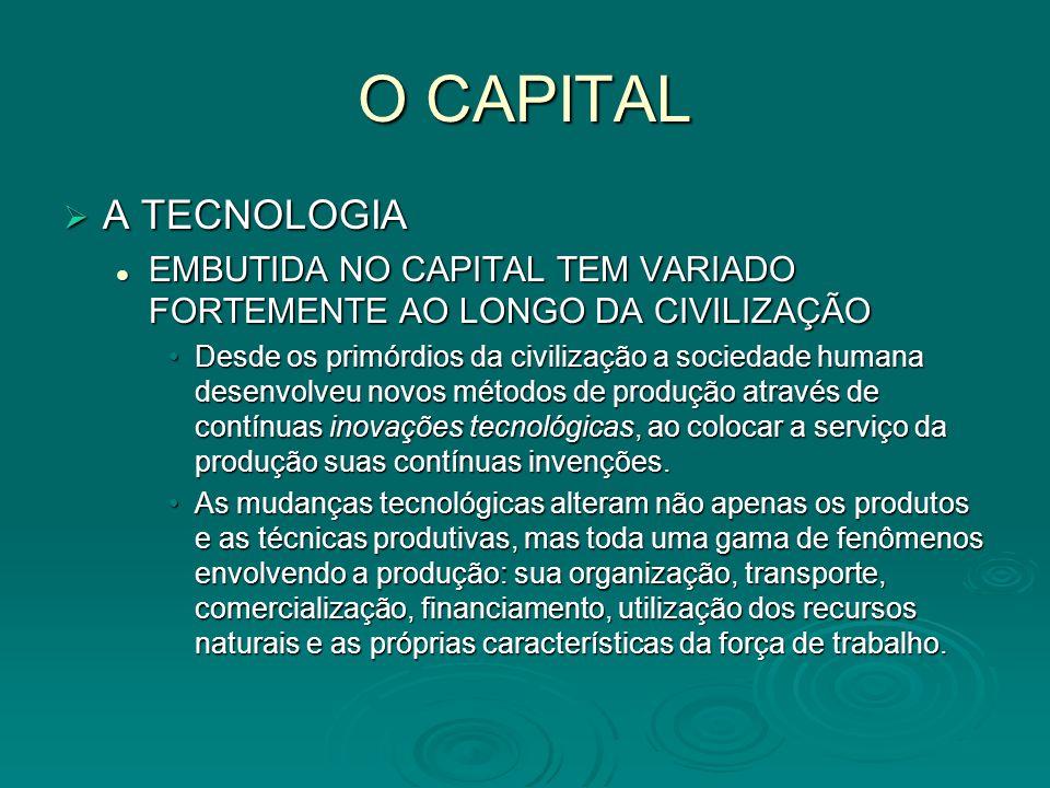 O CAPITAL A TECNOLOGIA. EMBUTIDA NO CAPITAL TEM VARIADO FORTEMENTE AO LONGO DA CIVILIZAÇÃO.