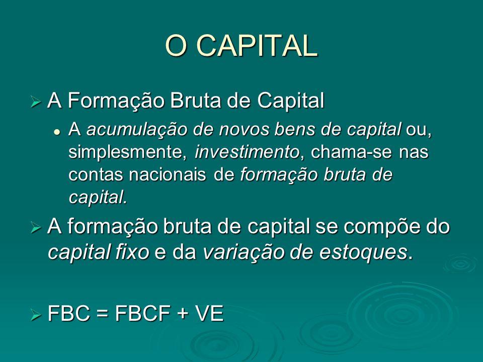 O CAPITAL A Formação Bruta de Capital