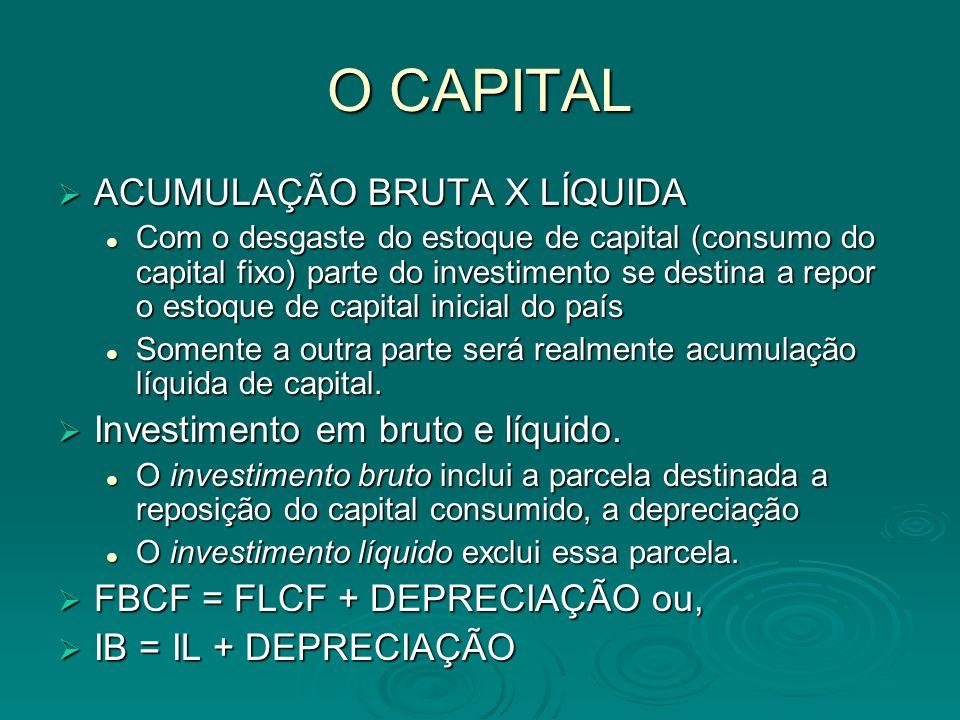 O CAPITAL ACUMULAÇÃO BRUTA X LÍQUIDA Investimento em bruto e líquido.
