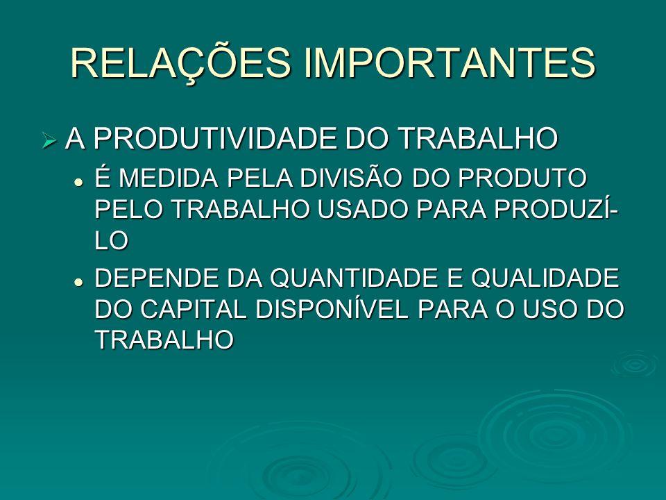 RELAÇÕES IMPORTANTES A PRODUTIVIDADE DO TRABALHO