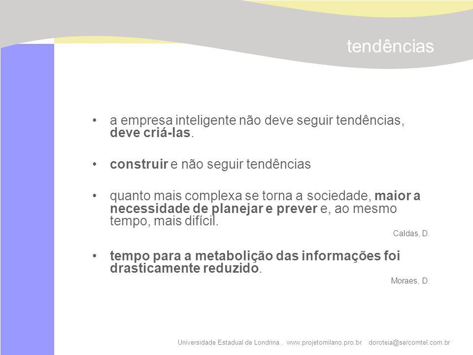 tendências a empresa inteligente não deve seguir tendências, deve criá-las. construir e não seguir tendências.
