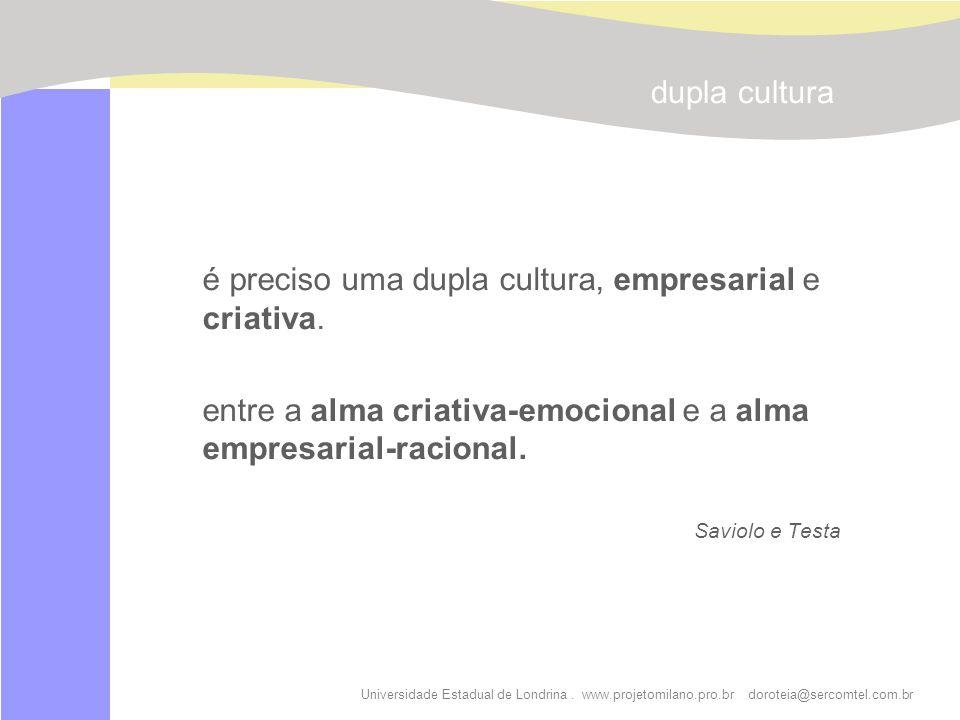 é preciso uma dupla cultura, empresarial e criativa.