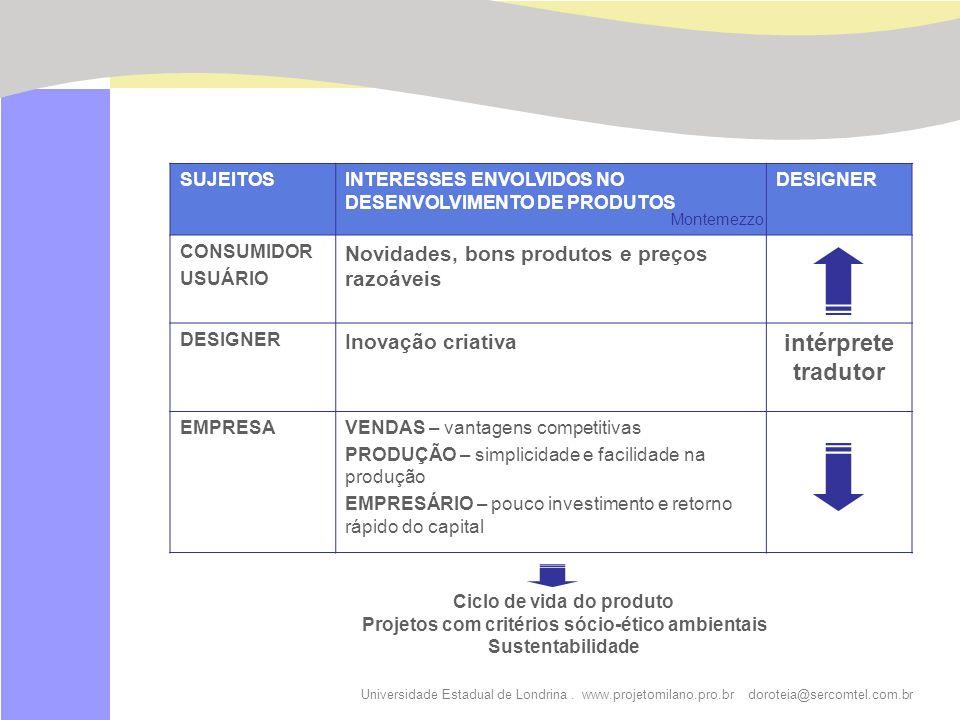 Ciclo de vida do produto Projetos com critérios sócio-ético ambientais