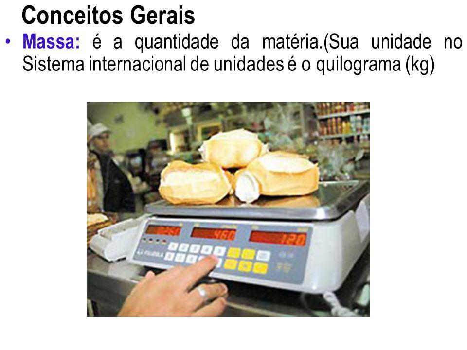 Conceitos Gerais Massa: é a quantidade da matéria.(Sua unidade no Sistema internacional de unidades é o quilograma (kg)