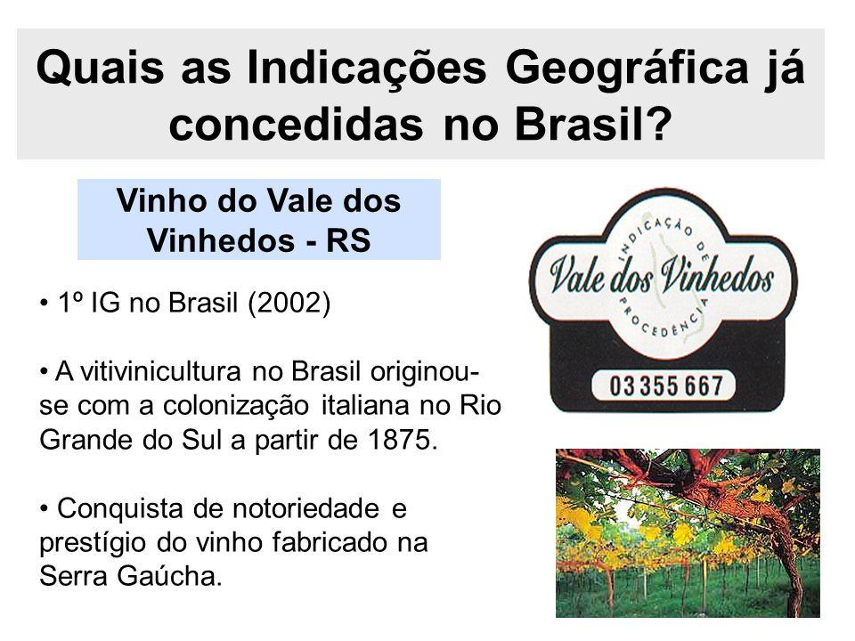 Quais as Indicações Geográfica já concedidas no Brasil