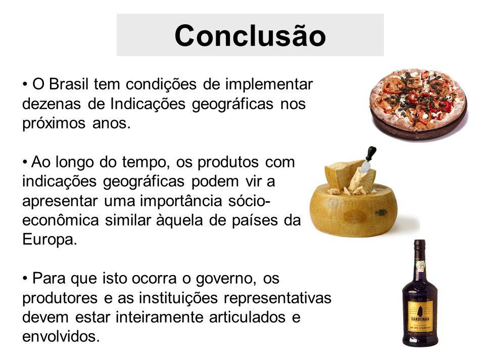 Conclusão O Brasil tem condições de implementar dezenas de Indicações geográficas nos próximos anos.