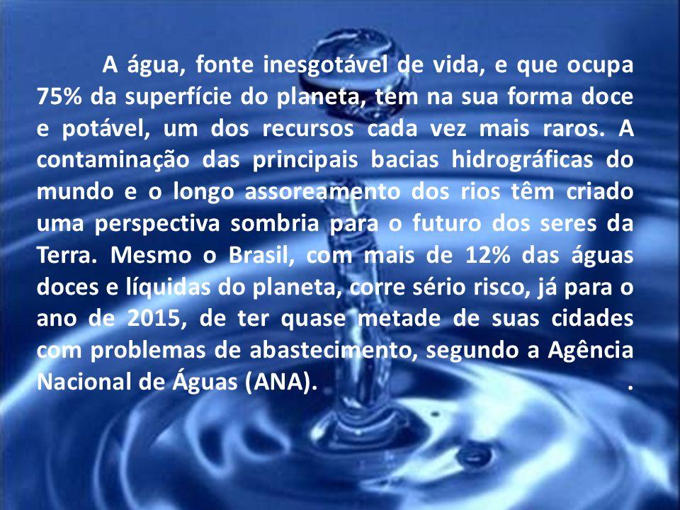 A água, fonte inesgotável de vida, e que ocupa 75% da superfície do planeta, tem na sua forma doce e potável, um dos recursos cada vez mais raros.