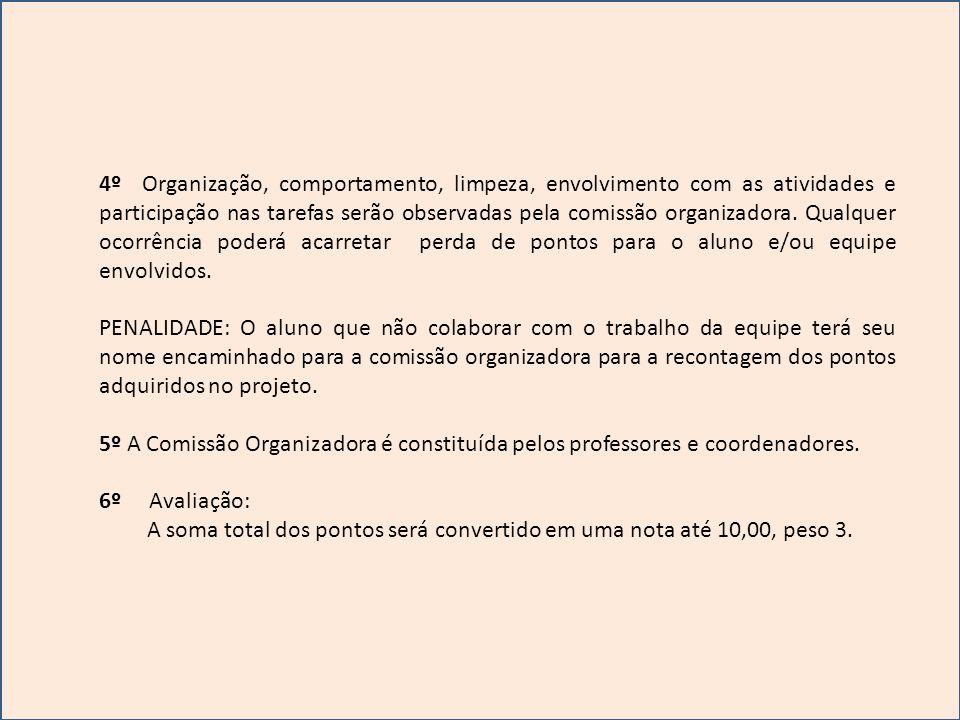4º Organização, comportamento, limpeza, envolvimento com as atividades e participação nas tarefas serão observadas pela comissão organizadora. Qualquer ocorrência poderá acarretar perda de pontos para o aluno e/ou equipe envolvidos.