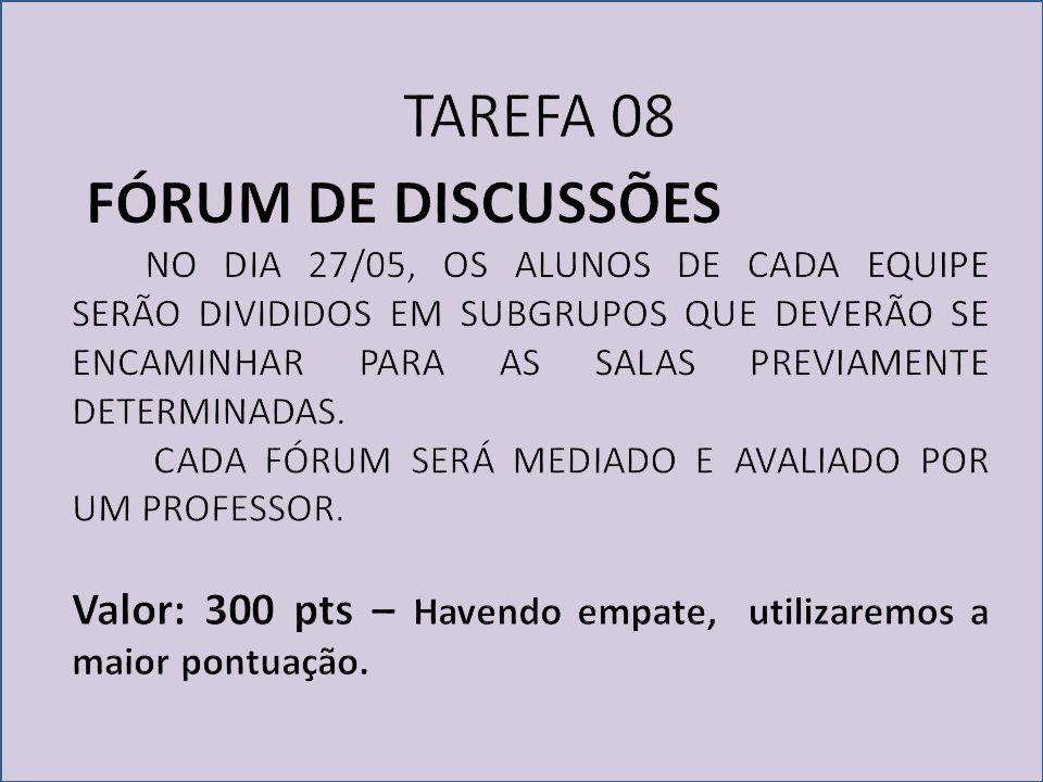 TAREFA 08 FÓRUM DE DISCUSSÕES
