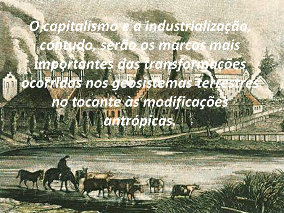 O capitalismo e a industrialização, contudo, serão os marcos mais importantes das transformações ocorridas nos geosistemas terrestres no tocante às modificações antrópicas.
