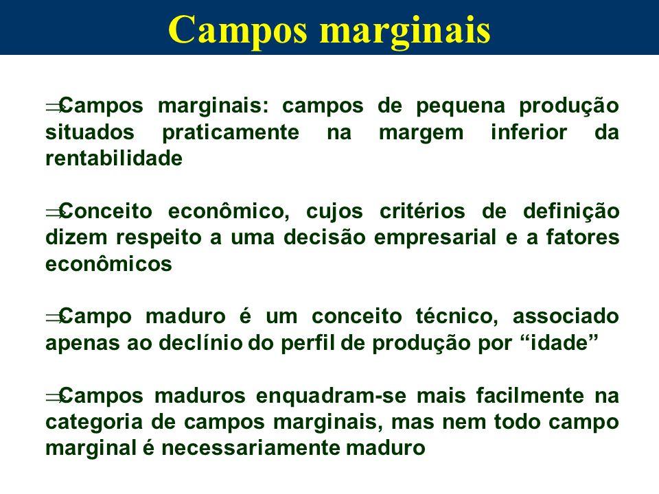 Campos marginais Campos marginais: campos de pequena produção situados praticamente na margem inferior da rentabilidade.
