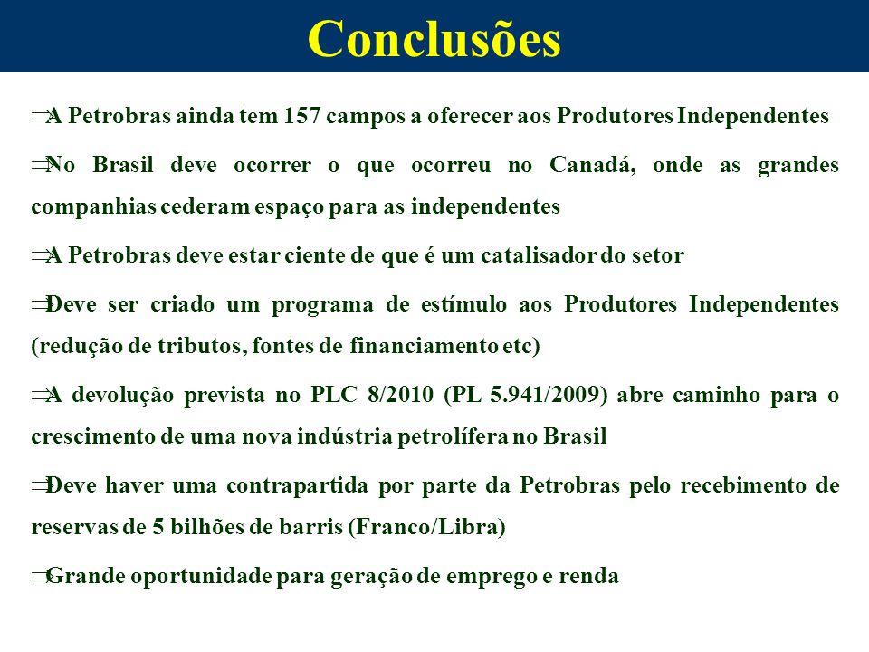 Conclusões A Petrobras ainda tem 157 campos a oferecer aos Produtores Independentes.