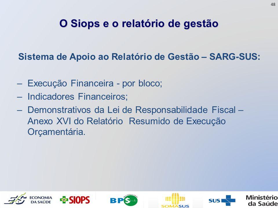 O Siops e o relatório de gestão