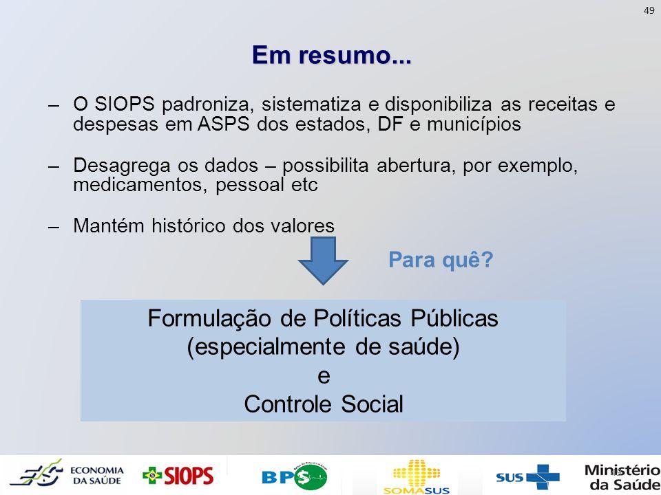 Formulação de Políticas Públicas (especialmente de saúde)