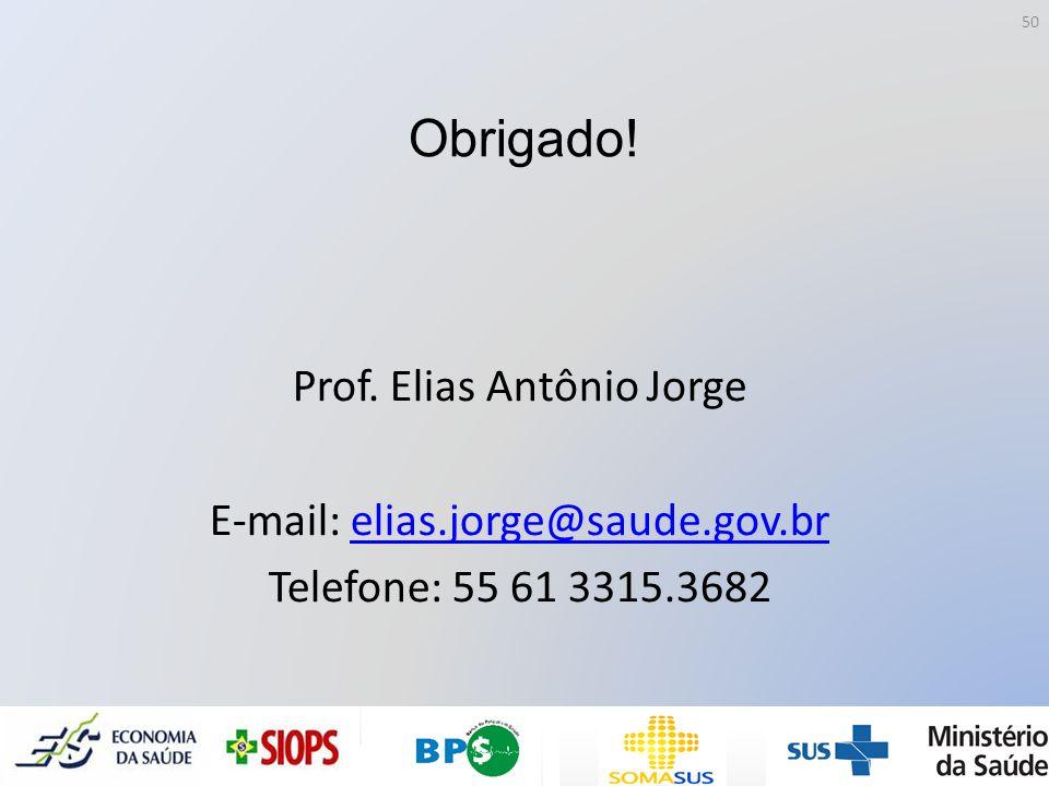 Obrigado! Prof. Elias Antônio Jorge E-mail: elias.jorge@saude.gov.br