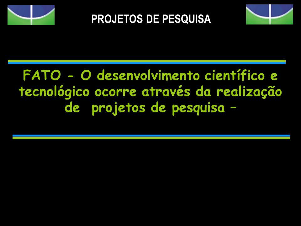 PROJETOS DE PESQUISAFATO - O desenvolvimento científico e tecnológico ocorre através da realização de projetos de pesquisa –