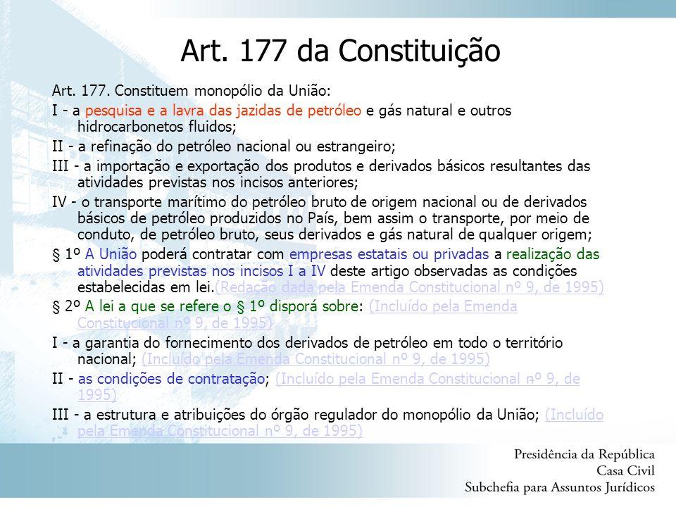 Art. 177 da Constituição Art. 177. Constituem monopólio da União: