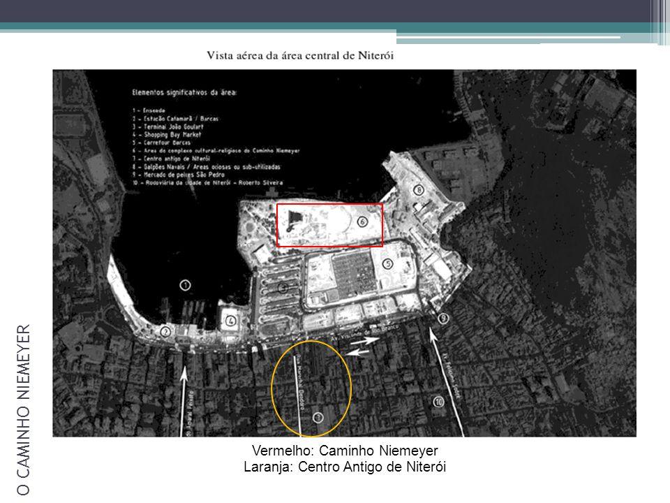 Vermelho: Caminho Niemeyer Laranja: Centro Antigo de Niterói