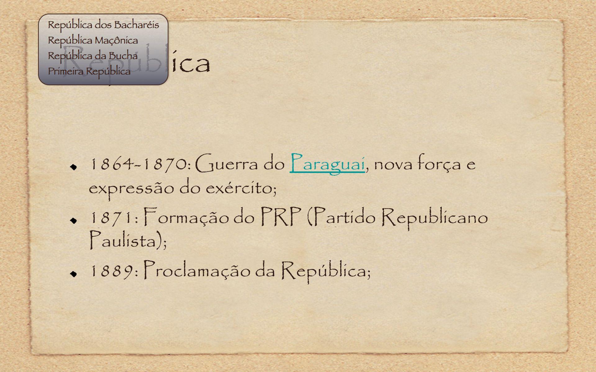 República1864-1870: Guerra do Paraguai, nova força e expressão do exército; 1871: Formação do PRP (Partido Republicano Paulista);