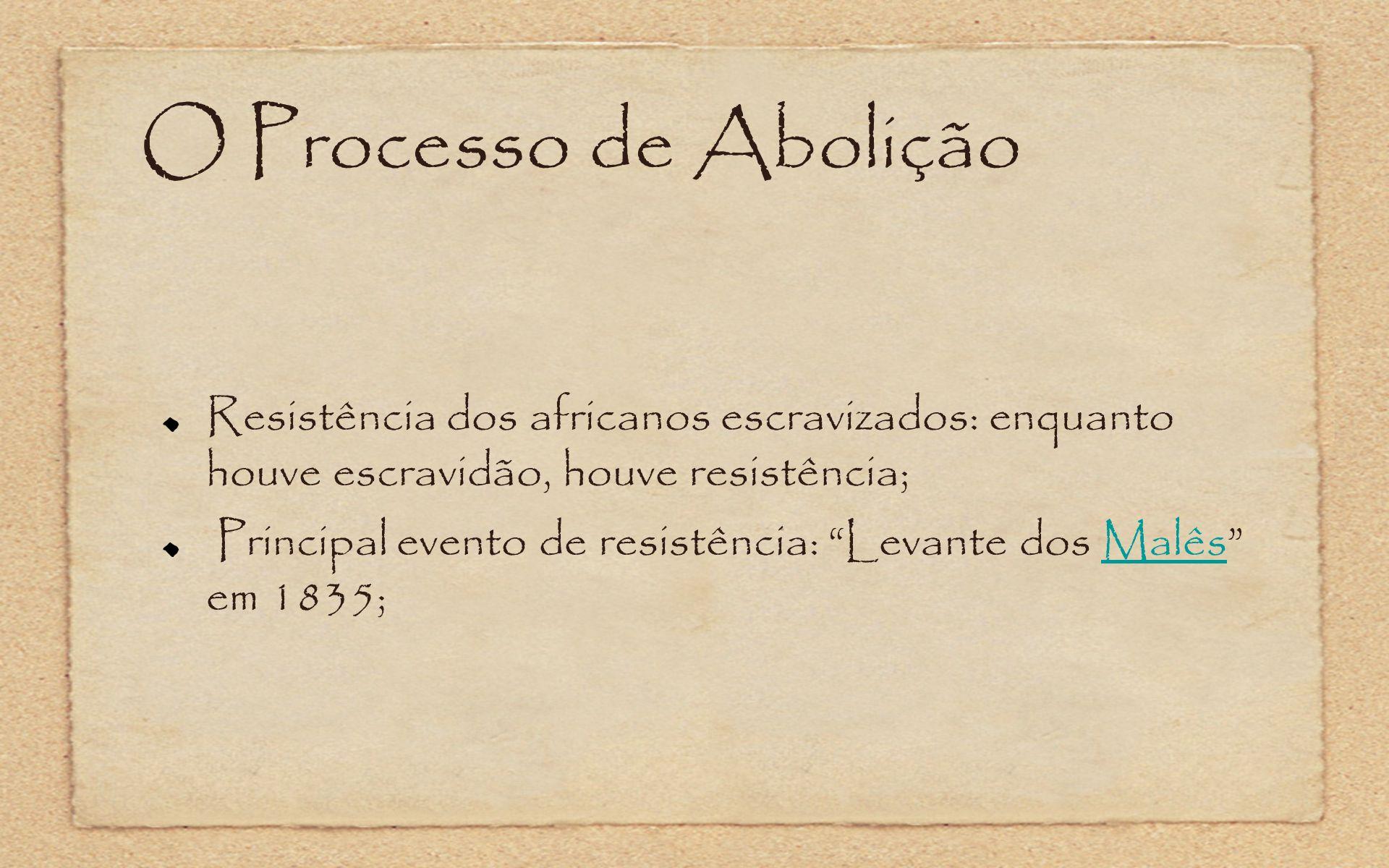 O Processo de Abolição Resistência dos africanos escravizados: enquanto houve escravidão, houve resistência;
