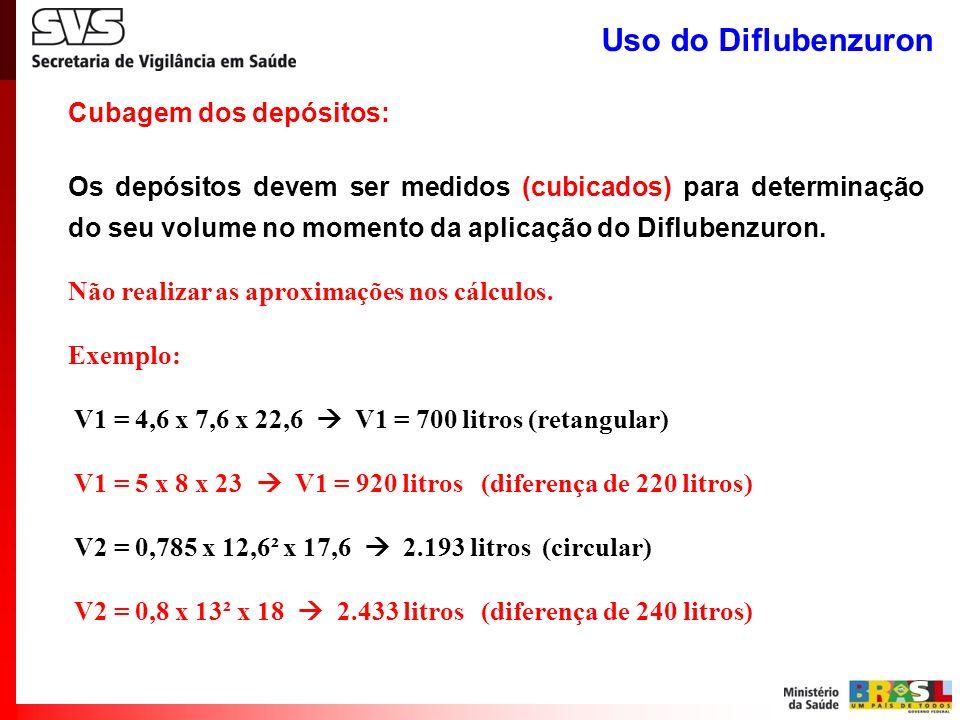 Uso do Diflubenzuron Cubagem dos depósitos: