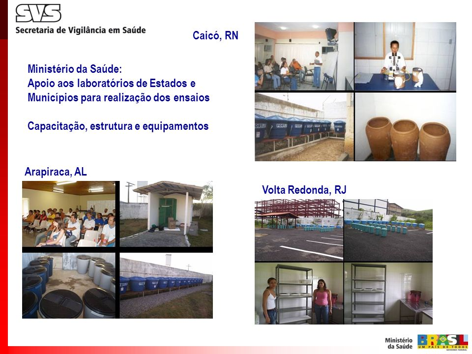 Caicó, RN Ministério da Saúde: Apoio aos laboratórios de Estados e. Municípios para realização dos ensaios.