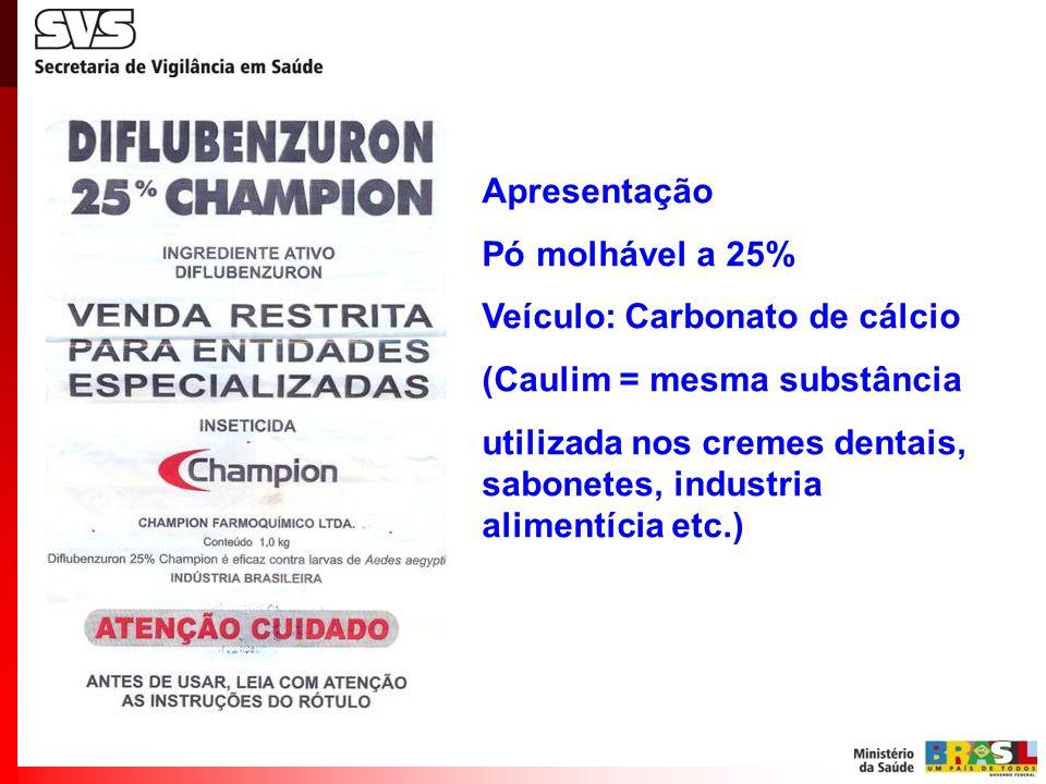 Veículo: Carbonato de cálcio (Caulim = mesma substância