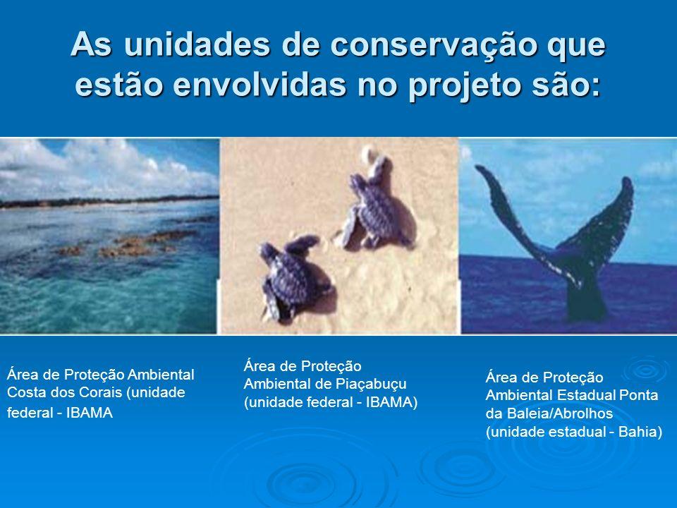 As unidades de conservação que estão envolvidas no projeto são: