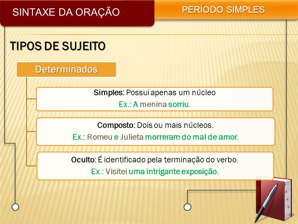 TIPOS DE SUJEITO SINTAXE DA ORAÇÃO Determinados PERÍODO SIMPLES