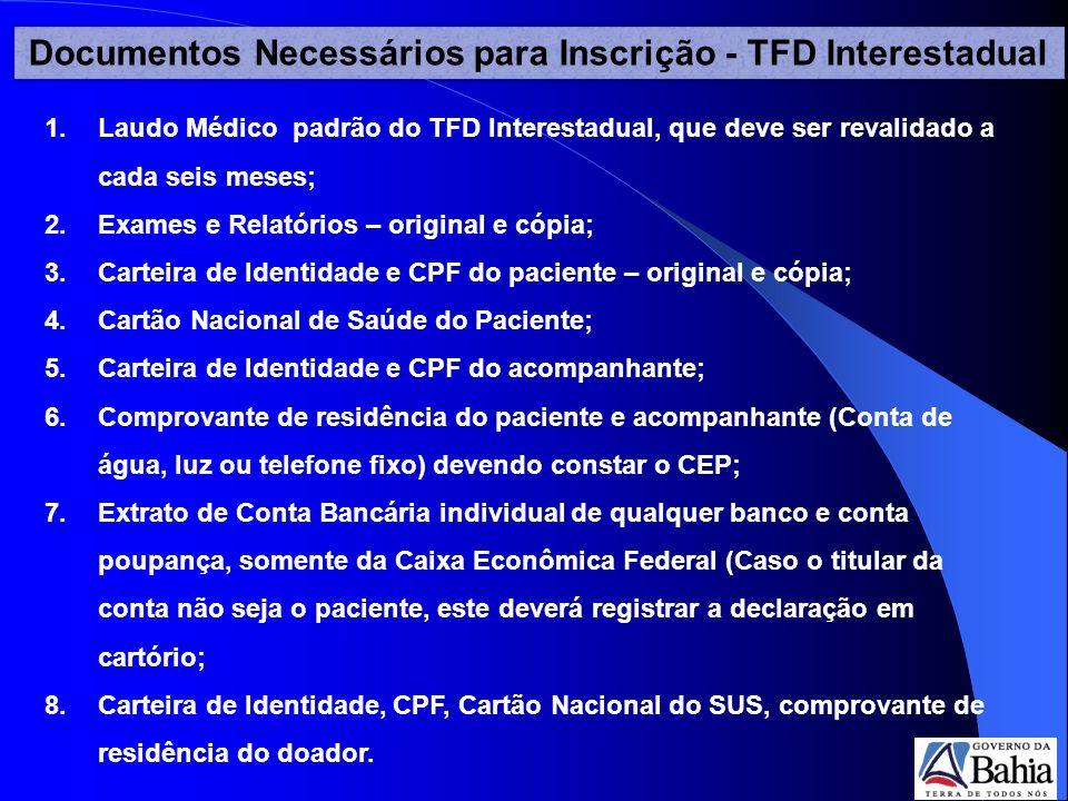 Documentos Necessários para Inscrição - TFD Interestadual