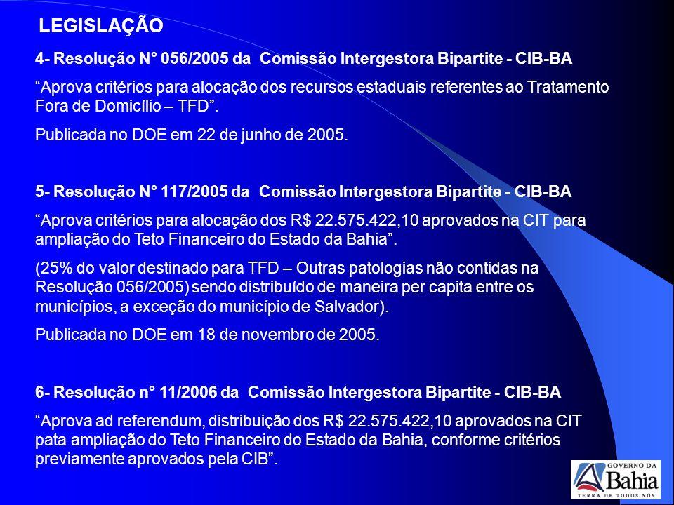 LEGISLAÇÃO 4- Resolução N° 056/2005 da Comissão Intergestora Bipartite - CIB-BA.
