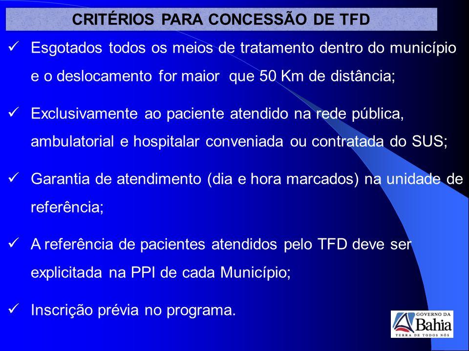 CRITÉRIOS PARA CONCESSÃO DE TFD