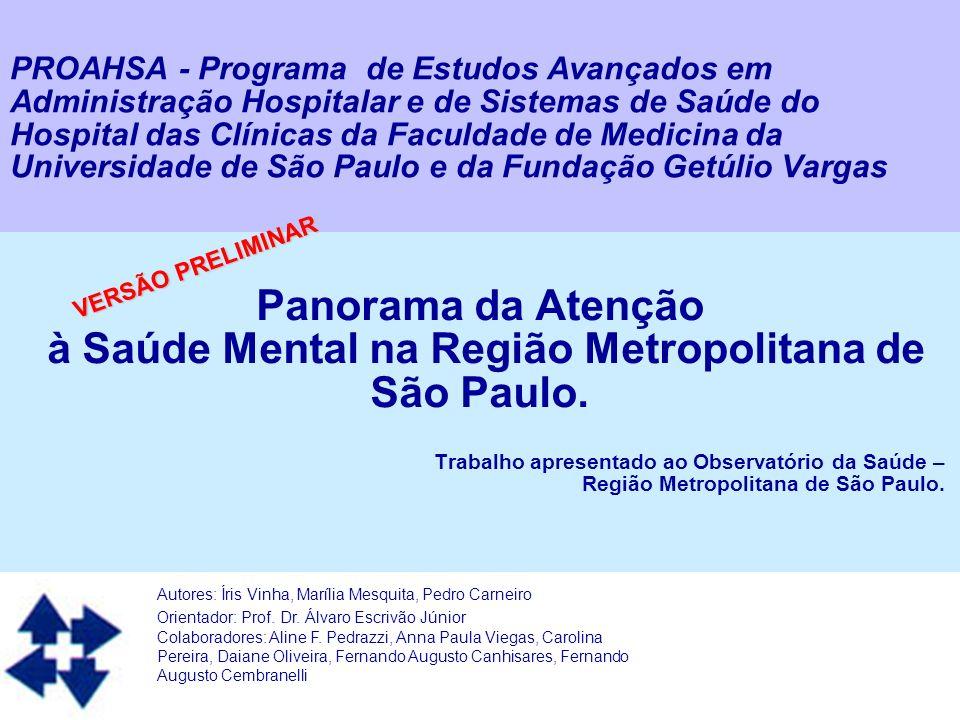 à Saúde Mental na Região Metropolitana de São Paulo.