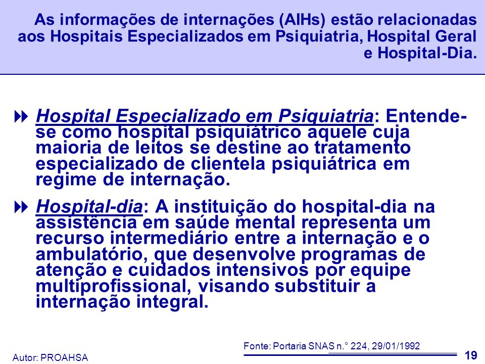 As informações de internações (AIHs) estão relacionadas aos Hospitais Especializados em Psiquiatria, Hospital Geral e Hospital-Dia.