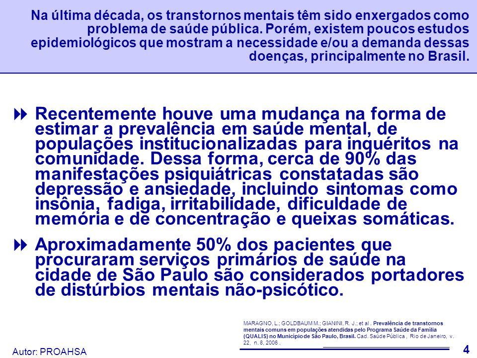 Na última década, os transtornos mentais têm sido enxergados como problema de saúde pública. Porém, existem poucos estudos epidemiológicos que mostram a necessidade e/ou a demanda dessas doenças, principalmente no Brasil.