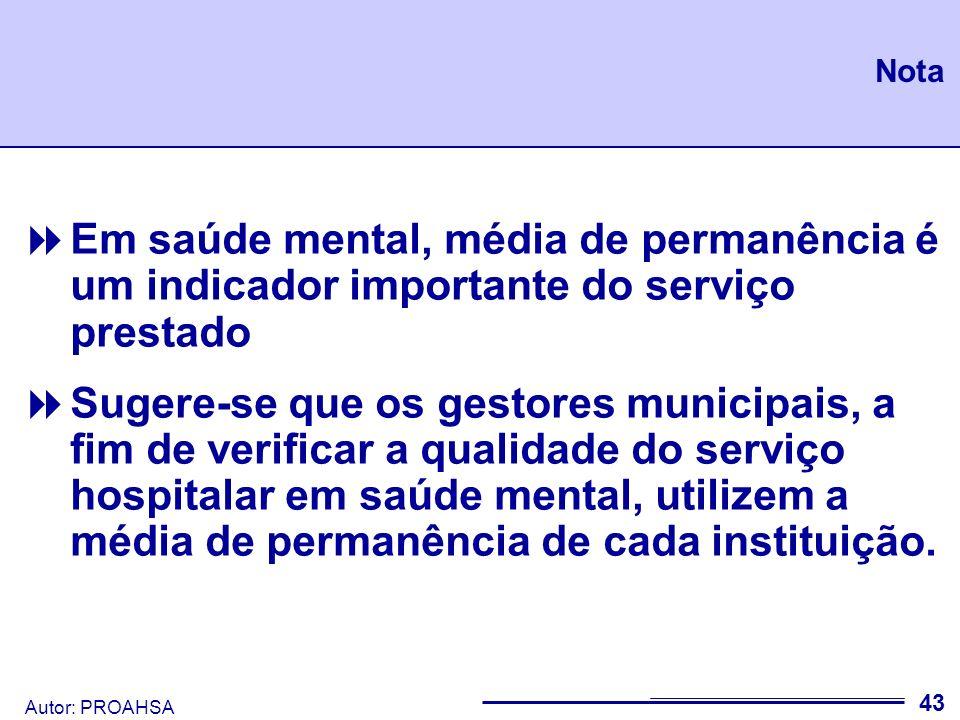 Nota Em saúde mental, média de permanência é um indicador importante do serviço prestado.