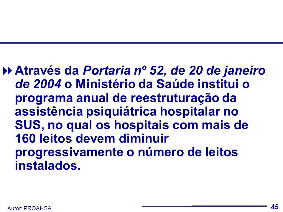 Através da Portaria nº 52, de 20 de janeiro de 2004 o Ministério da Saúde institui o programa anual de reestruturação da assistência psiquiátrica hospitalar no SUS, no qual os hospitais com mais de 160 leitos devem diminuir progressivamente o número de leitos instalados.