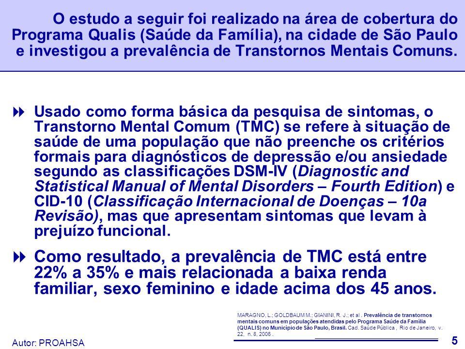 O estudo a seguir foi realizado na área de cobertura do Programa Qualis (Saúde da Família), na cidade de São Paulo e investigou a prevalência de Transtornos Mentais Comuns.