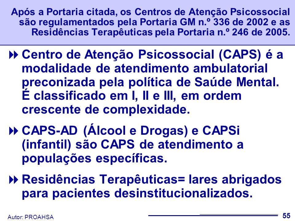 Após a Portaria citada, os Centros de Atenção Psicossocial são regulamentados pela Portaria GM n.º 336 de 2002 e as Residências Terapêuticas pela Portaria n.º 246 de 2005.