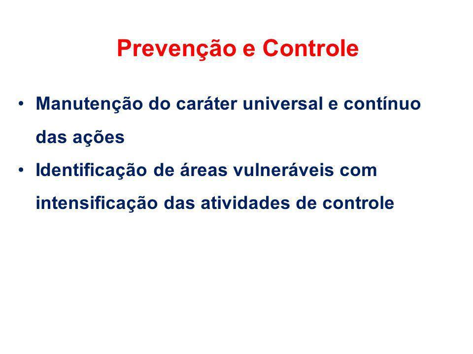 Prevenção e Controle Manutenção do caráter universal e contínuo das ações.