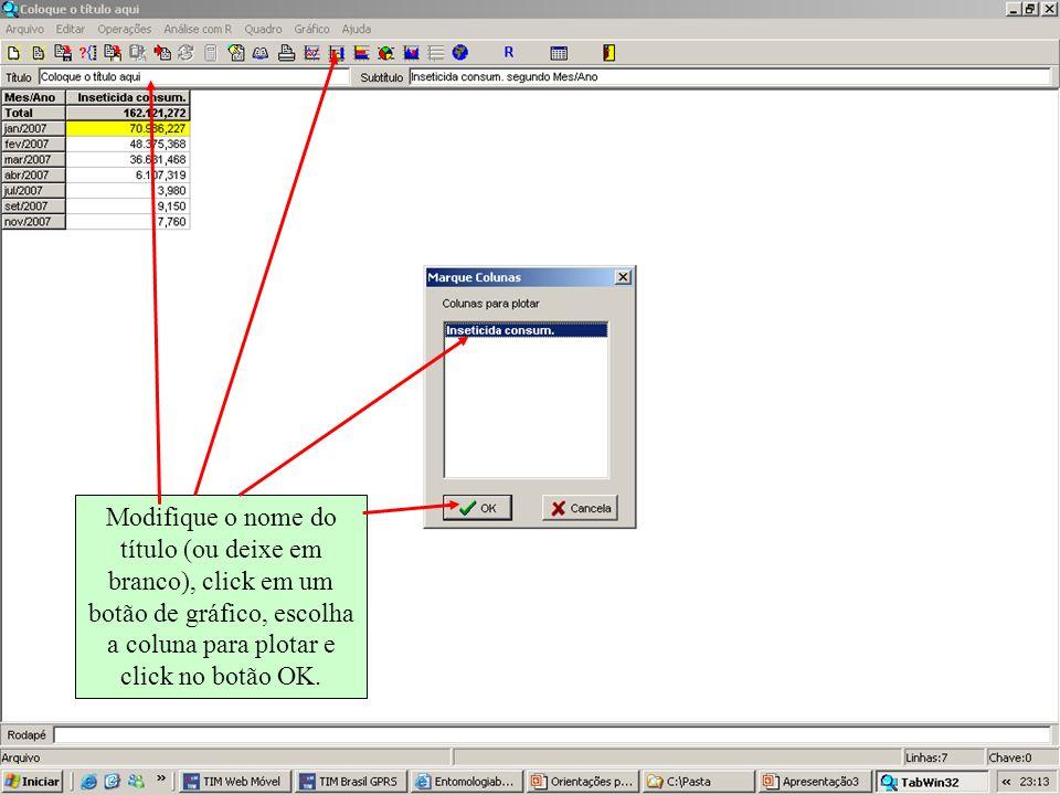 Modifique o nome do título (ou deixe em branco), click em um botão de gráfico, escolha a coluna para plotar e click no botão OK.