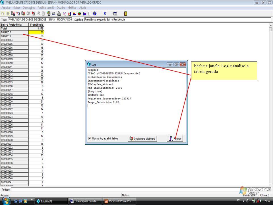 Feche a janela Log e analise a tabela gerada