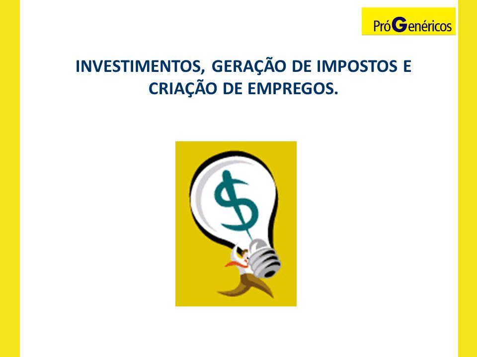 INVESTIMENTOS, GERAÇÃO DE IMPOSTOS E CRIAÇÃO DE EMPREGOS.