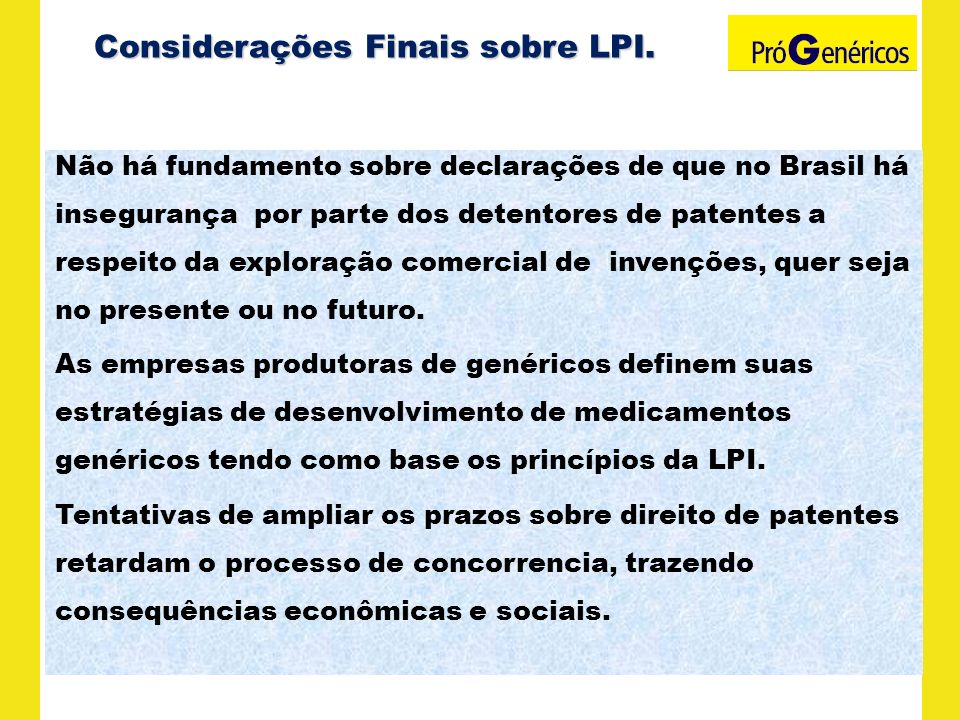 Considerações Finais sobre LPI.